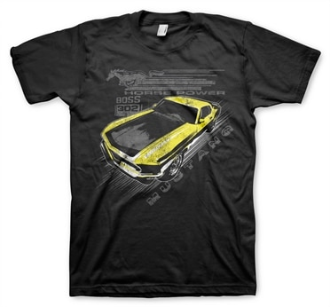Ford mustang vintage yellow boss t shirt for Vintage mustang t shirt
